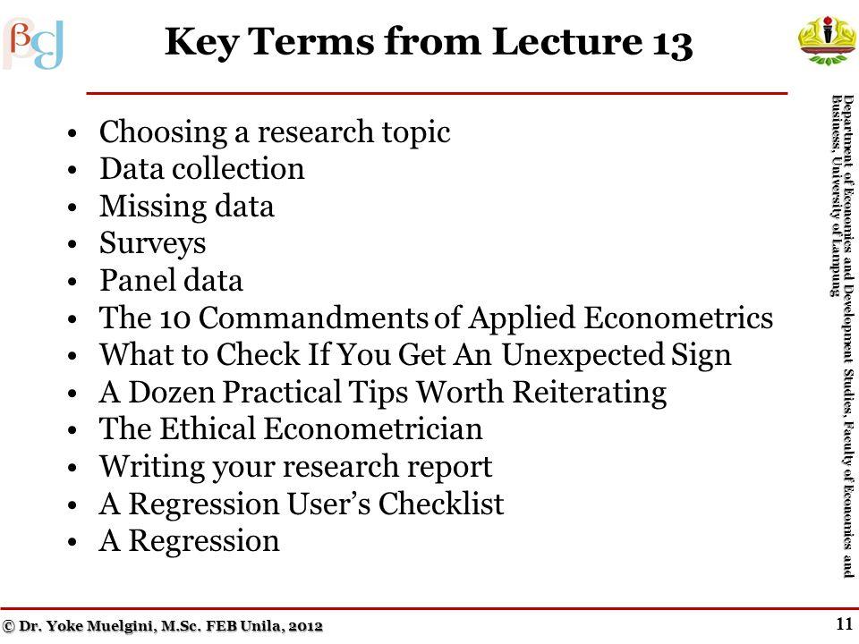 10 Other Dummy Dependent Variable Techniques Menurut Geweke, John Horowitz, dan Hashem Pesaran (2006), orang pertama yang menggunakan istilah econometrics adalah Pawel Ciompa pada tahun 1910, dan orang yang berjasa menggunakan istilah ekonometrika dalam arti yang dipakai dewasa ini adalah Ragnar Anton Kittil Frisch (1936, University of Oslo, Norwegia) yang bersama-sama Jan Tinbergen (1903-1994, Netherlands) merupakan dua ekonom pertama yang menerima Hadiah Nobel Ilmu Ekonomi (1969).