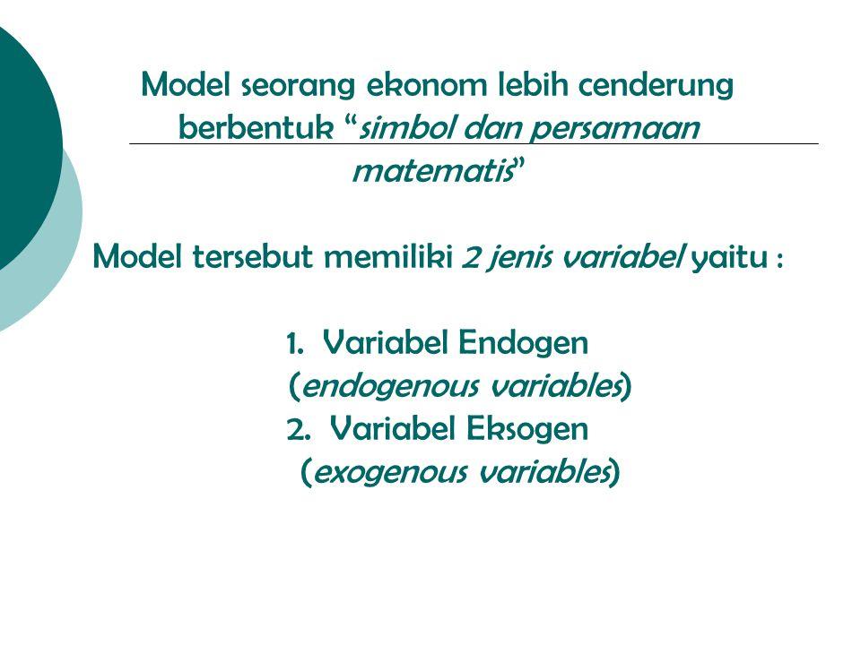 """Model seorang ekonom lebih cenderung berbentuk """"simbol dan persamaan matematis"""" Model tersebut memiliki 2 jenis variabel yaitu : 1. Variabel Endogen ("""