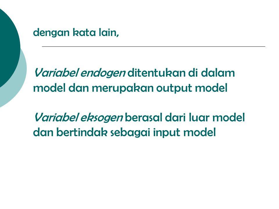 dengan kata lain, Variabel endogen ditentukan di dalam model dan merupakan output model Variabel eksogen berasal dari luar model dan bertindak sebagai