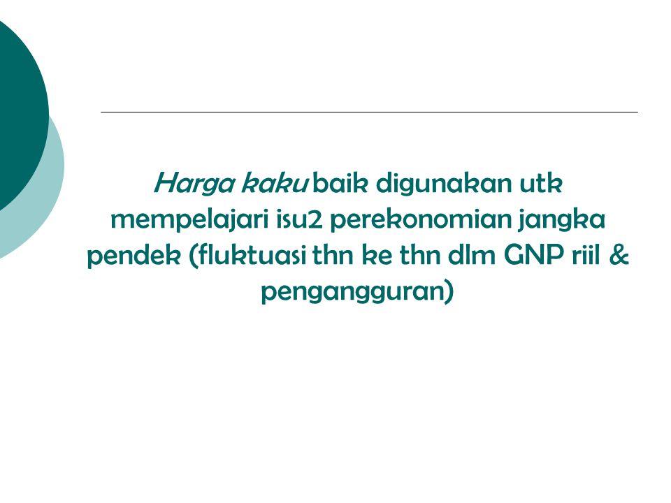 Harga kaku baik digunakan utk mempelajari isu2 perekonomian jangka pendek (fluktuasi thn ke thn dlm GNP riil & pengangguran)