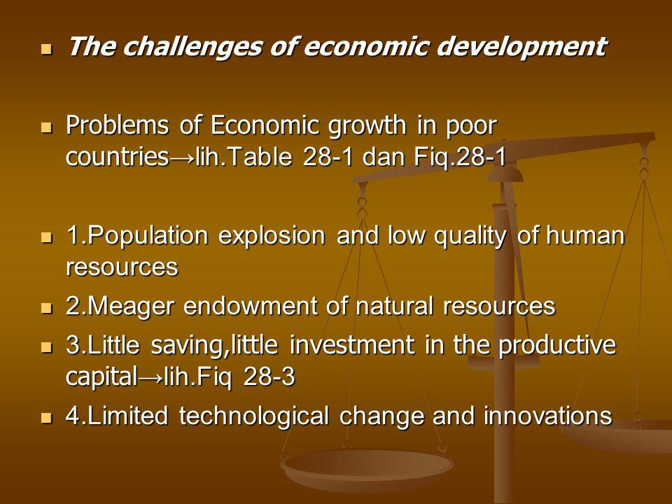 The challenges of economic development The challenges of economic development Problems of Economic growth in poor countries →lih.Table 28-1 dan Fiq.28