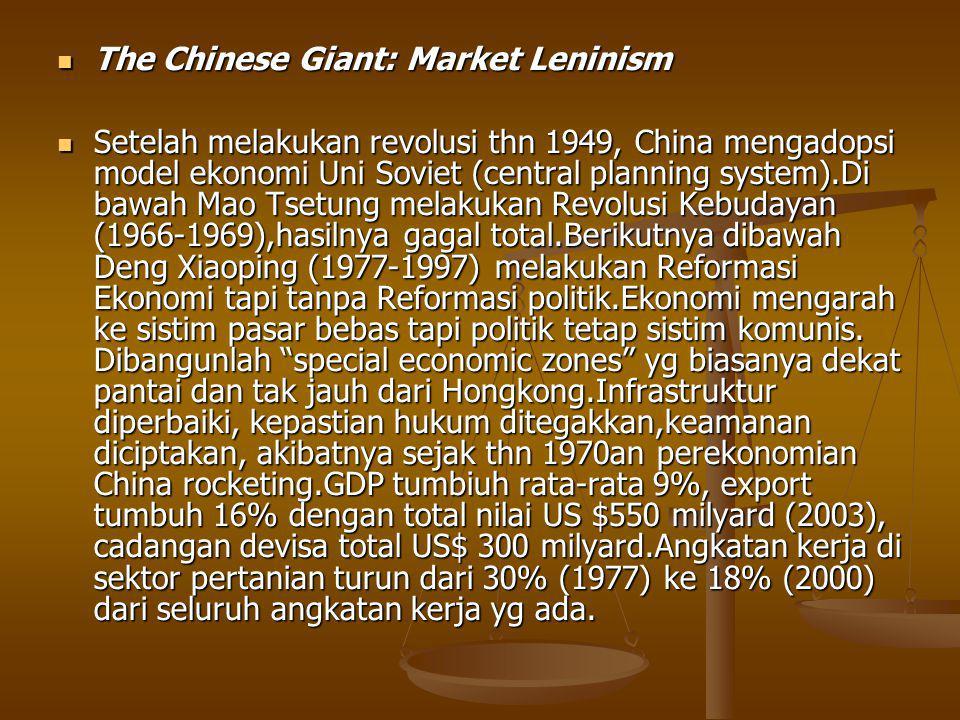 The Chinese Giant: Market Leninism The Chinese Giant: Market Leninism Setelah melakukan revolusi thn 1949, China mengadopsi model ekonomi Uni Soviet (central planning system).Di bawah Mao Tsetung melakukan Revolusi Kebudayan (1966-1969),hasilnya gagal total.Berikutnya dibawah Deng Xiaoping (1977-1997) melakukan Reformasi Ekonomi tapi tanpa Reformasi politik.Ekonomi mengarah ke sistim pasar bebas tapi politik tetap sistim komunis.