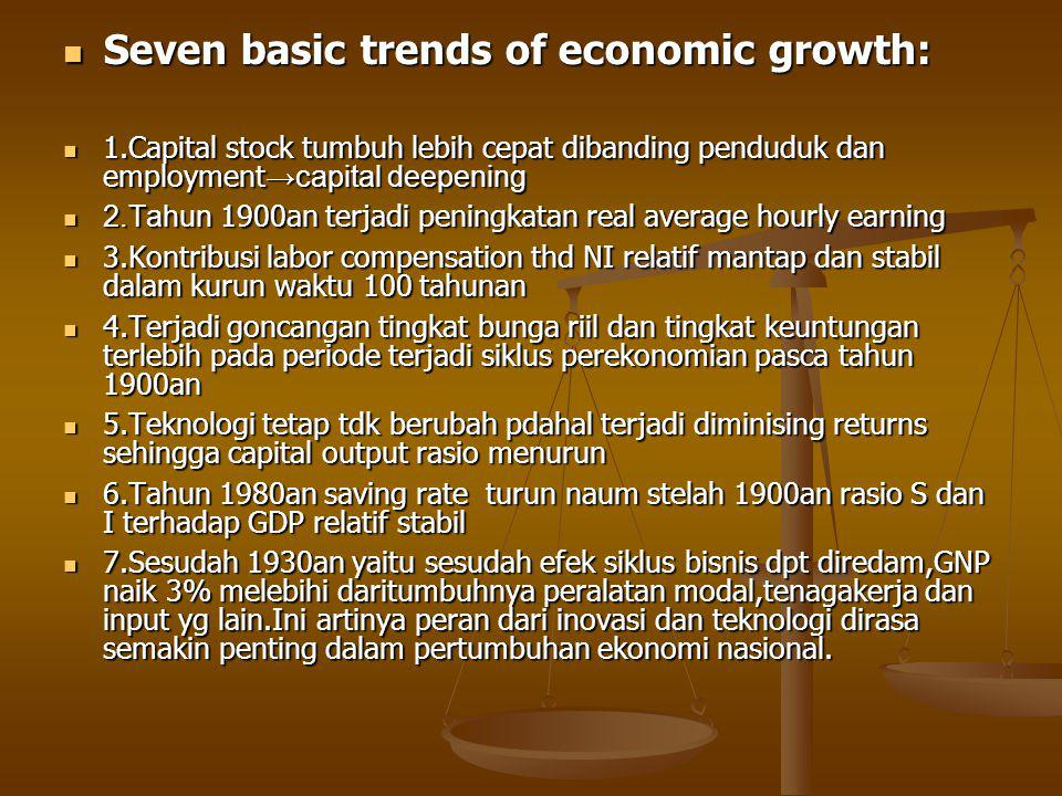 Seven basic trends of economic growth: Seven basic trends of economic growth: 1.Capital stock tumbuh lebih cepat dibanding penduduk dan employment →ca