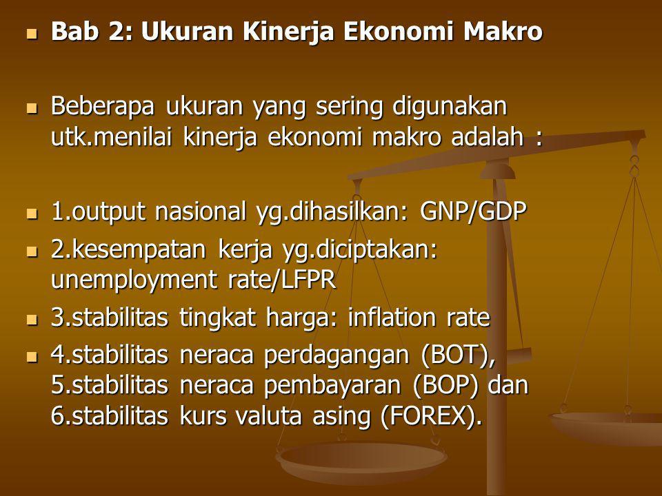 Bab 2: Ukuran Kinerja Ekonomi Makro Bab 2: Ukuran Kinerja Ekonomi Makro Beberapa ukuran yang sering digunakan utk.menilai kinerja ekonomi makro adalah : Beberapa ukuran yang sering digunakan utk.menilai kinerja ekonomi makro adalah : 1.output nasional yg.dihasilkan: GNP/GDP 1.output nasional yg.dihasilkan: GNP/GDP 2.kesempatan kerja yg.diciptakan: unemployment rate/LFPR 2.kesempatan kerja yg.diciptakan: unemployment rate/LFPR 3.stabilitas tingkat harga: inflation rate 3.stabilitas tingkat harga: inflation rate 4.stabilitas neraca perdagangan (BOT), 5.stabilitas neraca pembayaran (BOP) dan 6.stabilitas kurs valuta asing (FOREX).