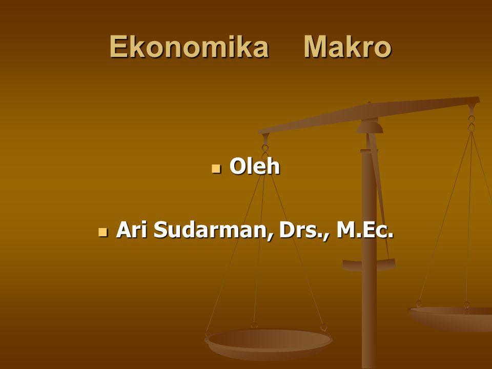 Ekonomika Makro Ekonomika Makro Oleh Oleh Ari Sudarman, Drs., M.Ec. Ari Sudarman, Drs., M.Ec.