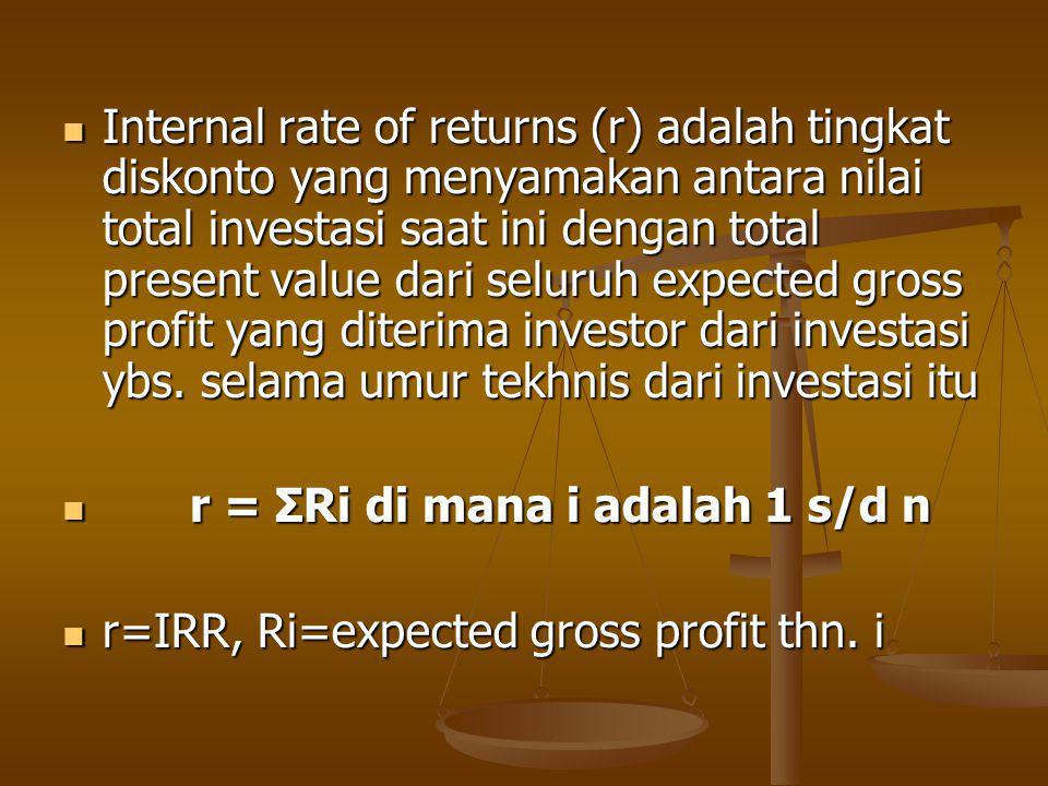Internal rate of returns (r) adalah tingkat diskonto yang menyamakan antara nilai total investasi saat ini dengan total present value dari seluruh expected gross profit yang diterima investor dari investasi ybs.