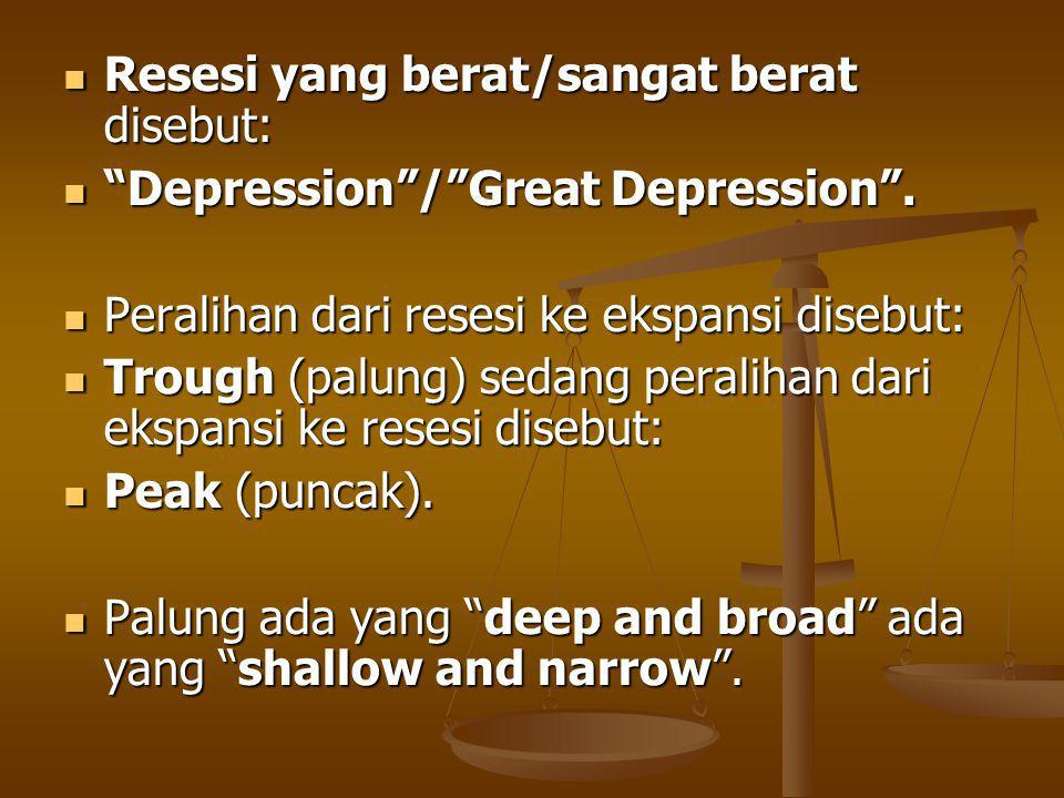 Resesi yang berat/sangat berat disebut: Resesi yang berat/sangat berat disebut: Depression / Great Depression .