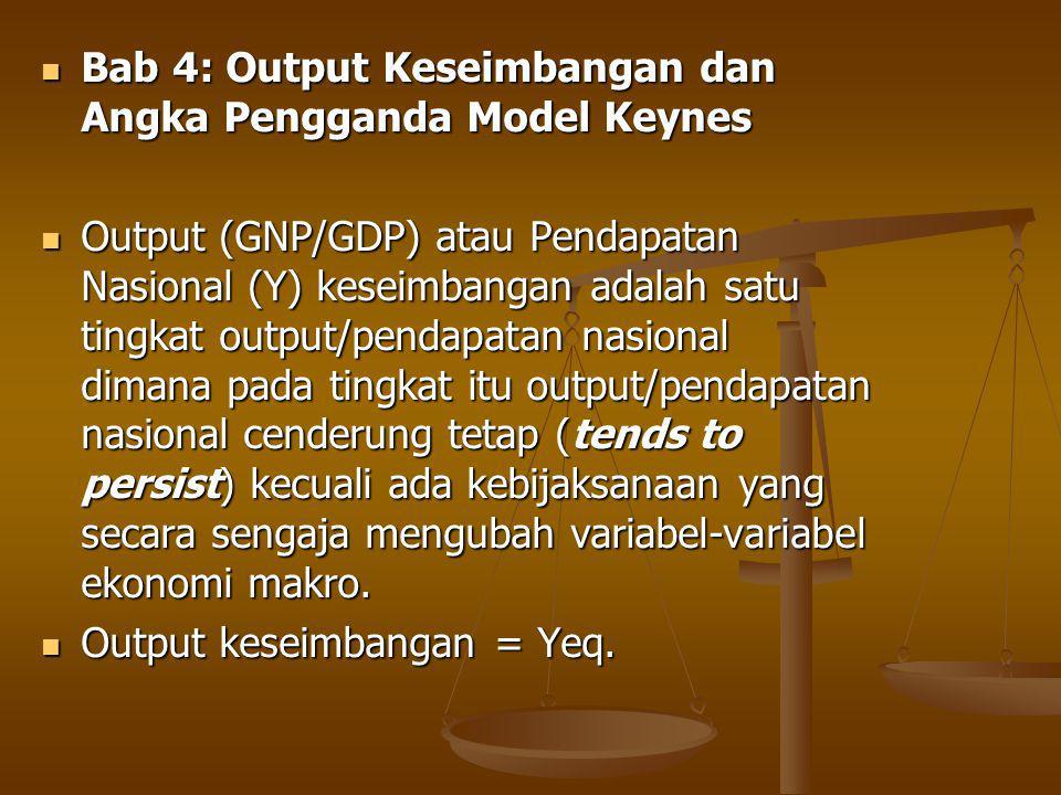 Bab 4: Output Keseimbangan dan Angka Pengganda Model Keynes Bab 4: Output Keseimbangan dan Angka Pengganda Model Keynes Output (GNP/GDP) atau Pendapatan Nasional (Y) keseimbangan adalah satu tingkat output/pendapatan nasional dimana pada tingkat itu output/pendapatan nasional cenderung tetap (tends to persist) kecuali ada kebijaksanaan yang secara sengaja mengubah variabel-variabel ekonomi makro.