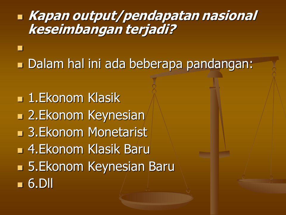 Kapan output/pendapatan nasional keseimbangan terjadi.
