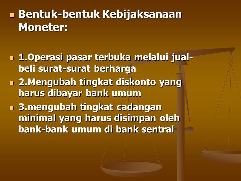 Bentuk-bentuk Kebijaksanaan Moneter: Bentuk-bentuk Kebijaksanaan Moneter: 1.Operasi pasar terbuka melalui jual- beli surat-surat berharga 1.Operasi pasar terbuka melalui jual- beli surat-surat berharga 2.Mengubah tingkat diskonto yang harus dibayar bank umum 2.Mengubah tingkat diskonto yang harus dibayar bank umum 3.mengubah tingkat cadangan minimal yang harus disimpan oleh bank-bank umum di bank sentral 3.mengubah tingkat cadangan minimal yang harus disimpan oleh bank-bank umum di bank sentral