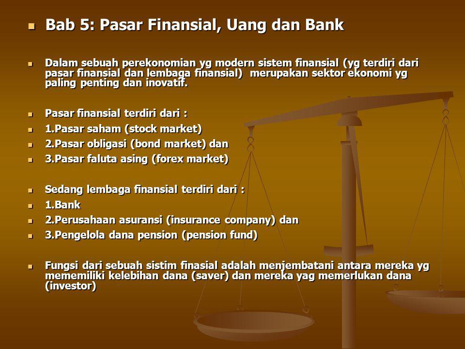 Bab 5: Pasar Finansial, Uang dan Bank Bab 5: Pasar Finansial, Uang dan Bank Dalam sebuah perekonomian yg modern sistem finansial (yg terdiri dari pasar finansial dan lembaga finansial) merupakan sektor ekonomi yg paling penting dan inovatif.