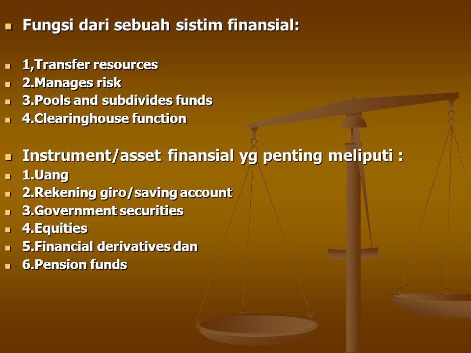 Fungsi dari sebuah sistim finansial: Fungsi dari sebuah sistim finansial: 1,Transfer resources 1,Transfer resources 2.Manages risk 2.Manages risk 3.Pools and subdivides funds 3.Pools and subdivides funds 4.Clearinghouse function 4.Clearinghouse function Instrument/asset finansial yg penting meliputi : Instrument/asset finansial yg penting meliputi : 1.Uang 1.Uang 2.Rekening giro/saving account 2.Rekening giro/saving account 3.Government securities 3.Government securities 4.Equities 4.Equities 5.Financial derivatives dan 5.Financial derivatives dan 6.Pension funds 6.Pension funds