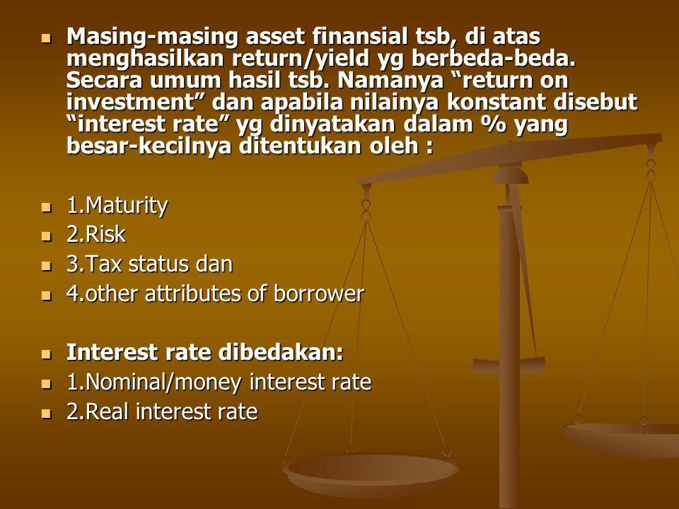 Masing-masing asset finansial tsb, di atas menghasilkan return/yield yg berbeda-beda.