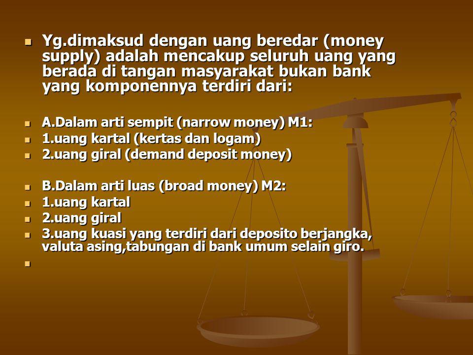 Yg.dimaksud dengan uang beredar (money supply) adalah mencakup seluruh uang yang berada di tangan masyarakat bukan bank yang komponennya terdiri dari: Yg.dimaksud dengan uang beredar (money supply) adalah mencakup seluruh uang yang berada di tangan masyarakat bukan bank yang komponennya terdiri dari: A.Dalam arti sempit (narrow money) M1: A.Dalam arti sempit (narrow money) M1: 1.uang kartal (kertas dan logam) 1.uang kartal (kertas dan logam) 2.uang giral (demand deposit money) 2.uang giral (demand deposit money) B.Dalam arti luas (broad money) M2: B.Dalam arti luas (broad money) M2: 1.uang kartal 1.uang kartal 2.uang giral 2.uang giral 3.uang kuasi yang terdiri dari deposito berjangka, valuta asing,tabungan di bank umum selain giro.