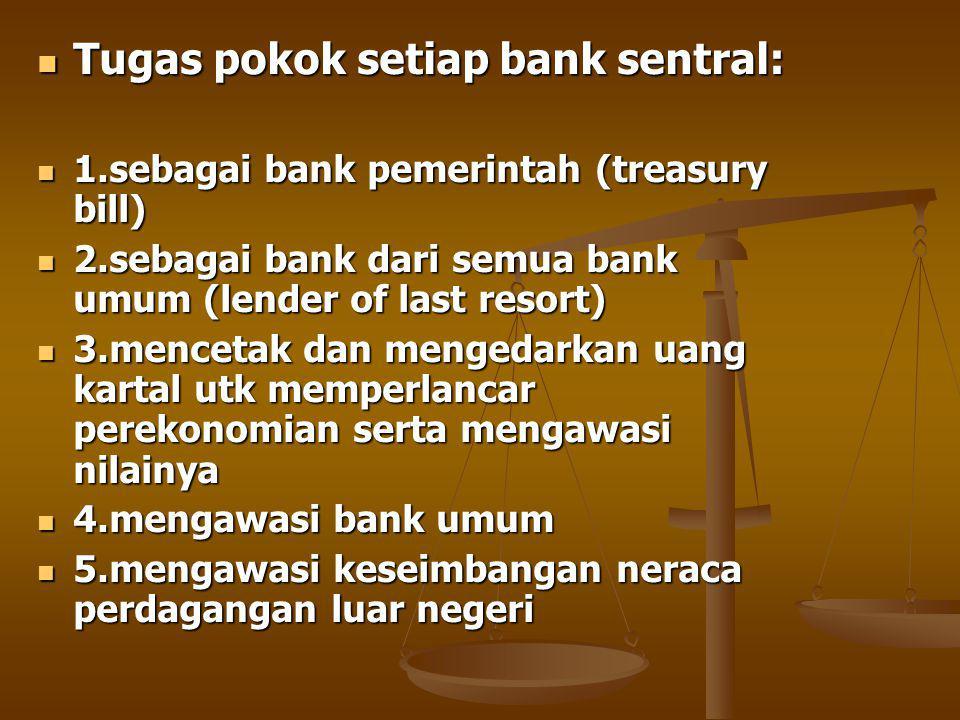 Tugas pokok setiap bank sentral: Tugas pokok setiap bank sentral: 1.sebagai bank pemerintah (treasury bill) 1.sebagai bank pemerintah (treasury bill) 2.sebagai bank dari semua bank umum (lender of last resort) 2.sebagai bank dari semua bank umum (lender of last resort) 3.mencetak dan mengedarkan uang kartal utk memperlancar perekonomian serta mengawasi nilainya 3.mencetak dan mengedarkan uang kartal utk memperlancar perekonomian serta mengawasi nilainya 4.mengawasi bank umum 4.mengawasi bank umum 5.mengawasi keseimbangan neraca perdagangan luar negeri 5.mengawasi keseimbangan neraca perdagangan luar negeri