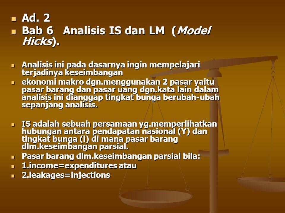 Ad.2 Ad. 2 Bab 6 Analisis IS dan LM (Model Hicks).
