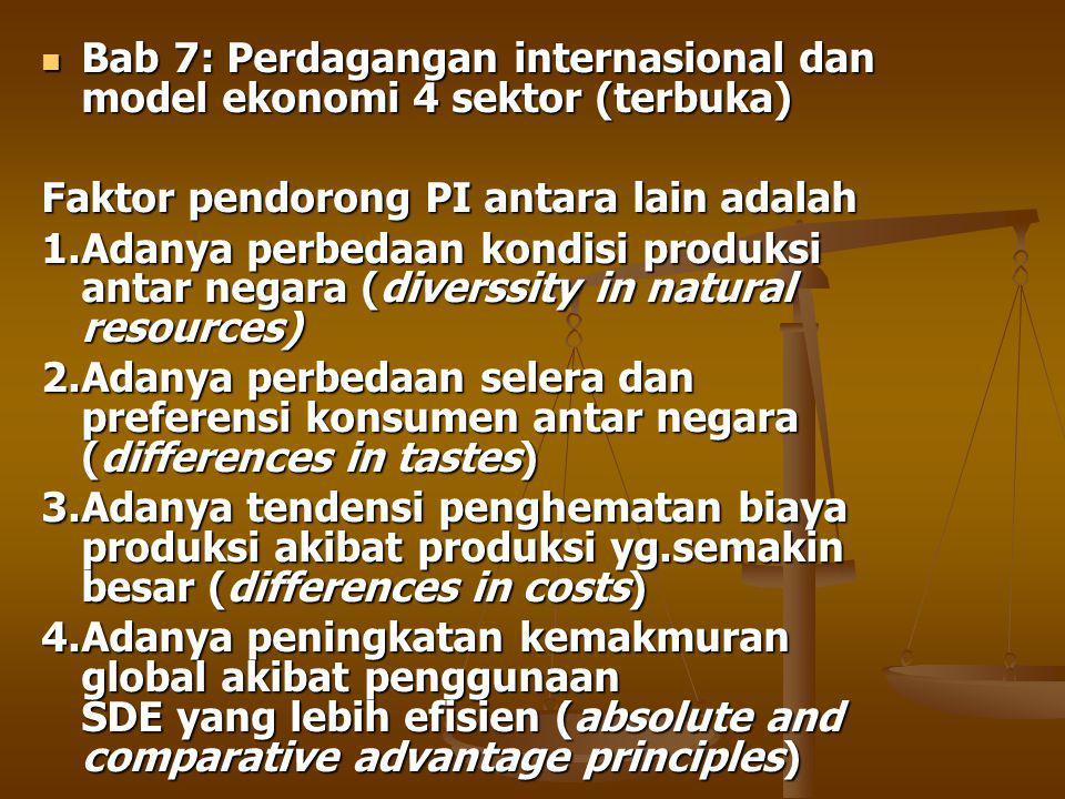 Bab 7: Perdagangan internasional dan model ekonomi 4 sektor (terbuka) Bab 7: Perdagangan internasional dan model ekonomi 4 sektor (terbuka) Faktor pendorong PI antara lain adalah 1.Adanya perbedaan kondisi produksi antar negara (diverssity in natural resources) 2.Adanya perbedaan selera dan preferensi konsumen antar negara (differences in tastes) 3.Adanya tendensi penghematan biaya produksi akibat produksi yg.semakin besar (differences in costs) 4.Adanya peningkatan kemakmuran global akibat penggunaan SDE yang lebih efisien (absolute and comparative advantage principles)