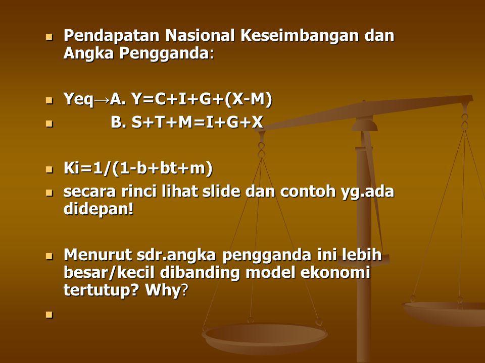 Pendapatan Nasional Keseimbangan dan Angka Pengganda: Pendapatan Nasional Keseimbangan dan Angka Pengganda: Yeq → A.