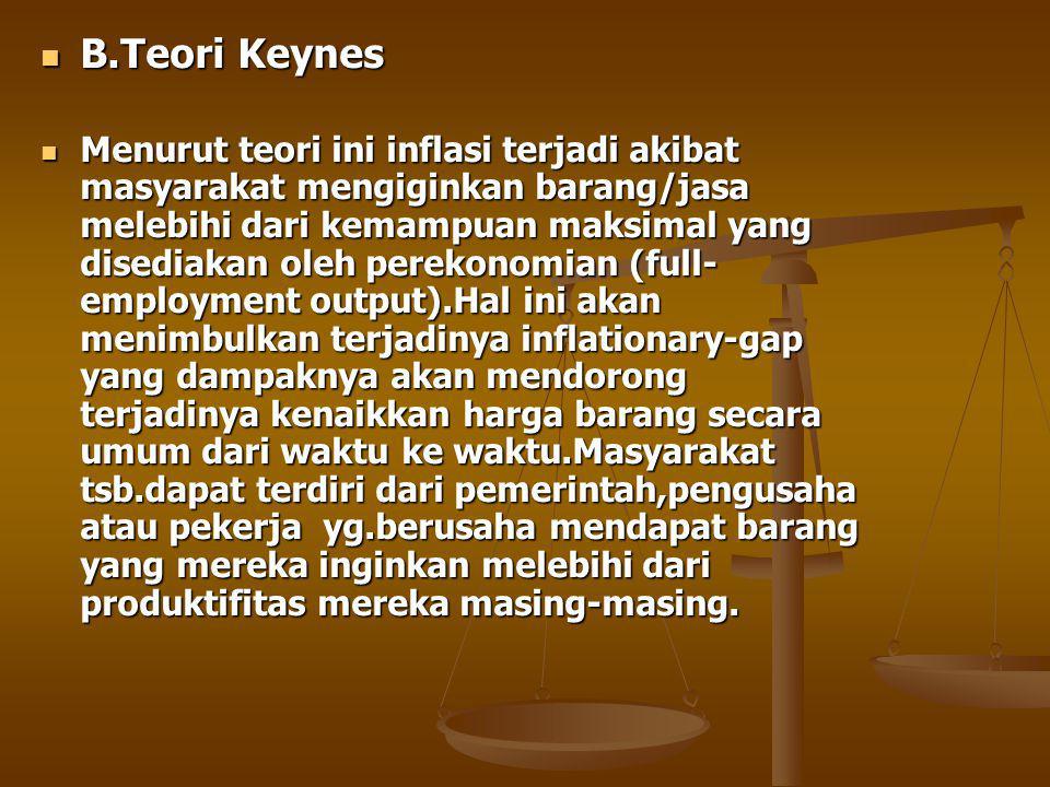 B.Teori Keynes B.Teori Keynes Menurut teori ini inflasi terjadi akibat masyarakat mengiginkan barang/jasa melebihi dari kemampuan maksimal yang disediakan oleh perekonomian (full- employment output).Hal ini akan menimbulkan terjadinya inflationary-gap yang dampaknya akan mendorong terjadinya kenaikkan harga barang secara umum dari waktu ke waktu.Masyarakat tsb.dapat terdiri dari pemerintah,pengusaha atau pekerja yg.berusaha mendapat barang yang mereka inginkan melebihi dari produktifitas mereka masing-masing.