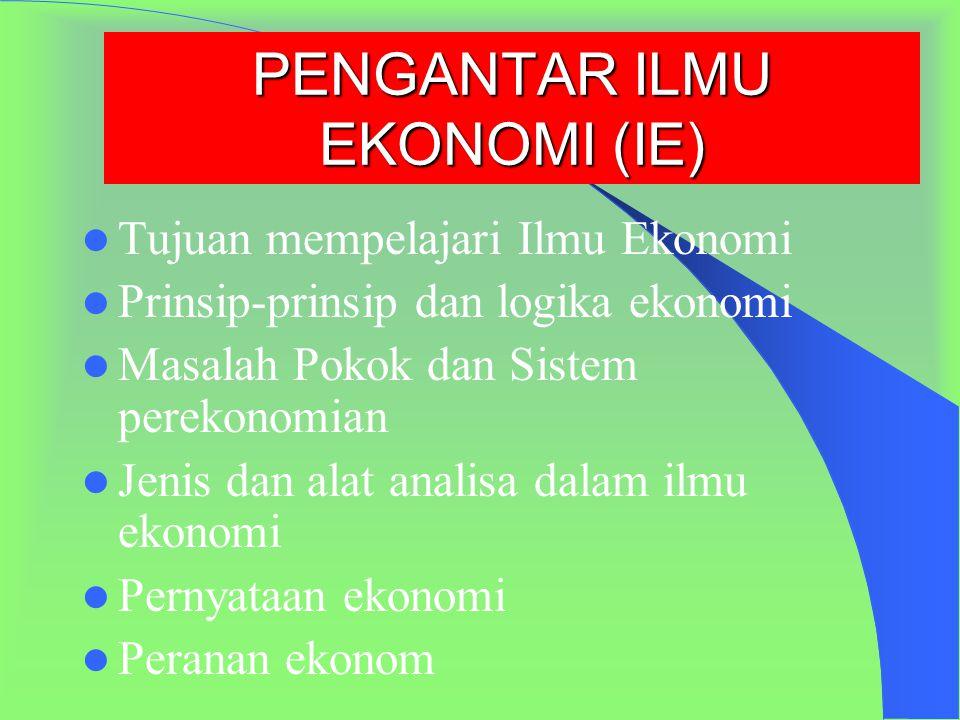 PENGANTAR ILMU EKONOMI (IE) Tujuan mempelajari Ilmu Ekonomi Prinsip-prinsip dan logika ekonomi Masalah Pokok dan Sistem perekonomian Jenis dan alat analisa dalam ilmu ekonomi Pernyataan ekonomi Peranan ekonom