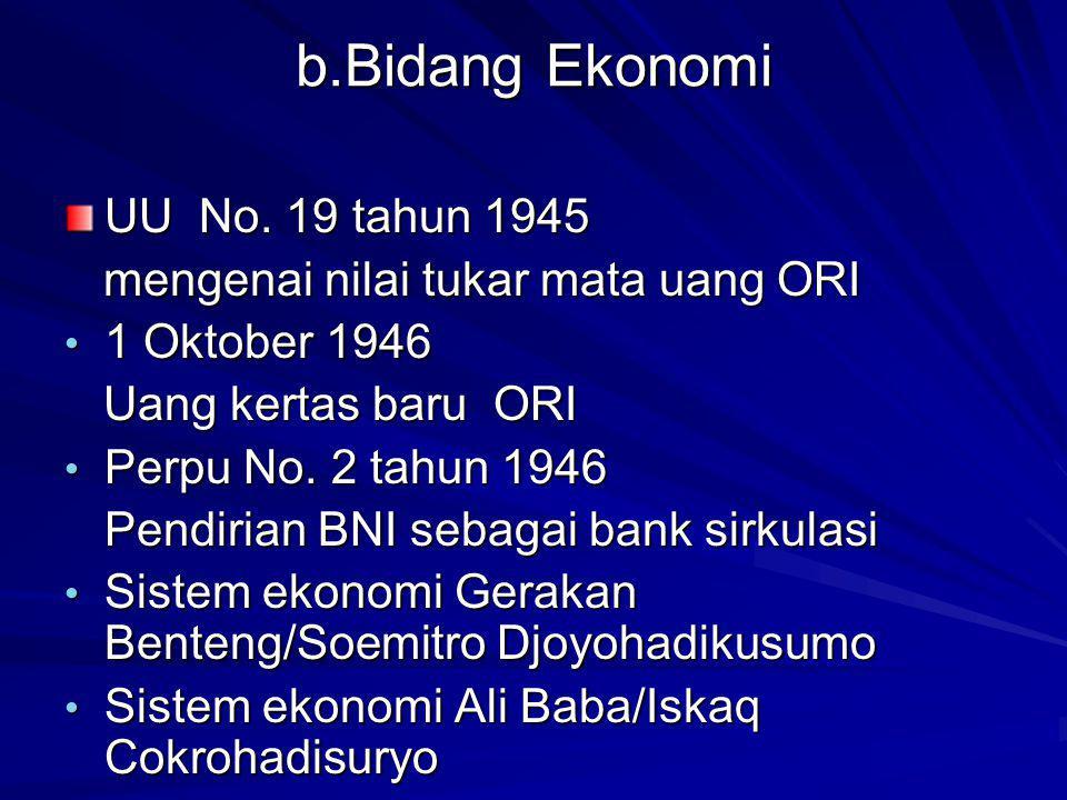 b.Bidang Ekonomi UU No.