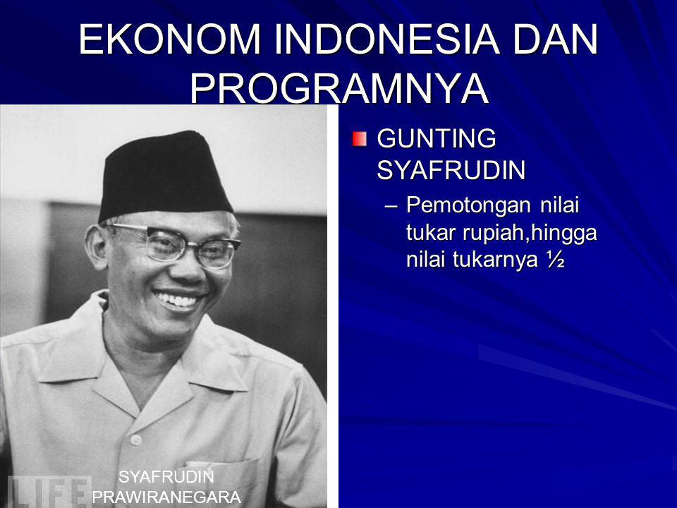 EKONOM INDONESIA DAN PROGRAMNYA GUNTING SYAFRUDIN –Pemotongan nilai tukar rupiah,hingga nilai tukarnya ½ SYAFRUDIN PRAWIRANEGARA