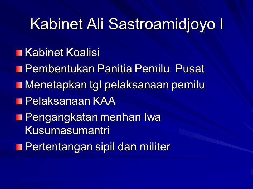 Kabinet Ali Sastroamidjoyo I Kabinet Koalisi Pembentukan Panitia Pemilu Pusat Menetapkan tgl pelaksanaan pemilu Pelaksanaan KAA Pengangkatan menhan Iwa Kusumasumantri Pertentangan sipil dan militer