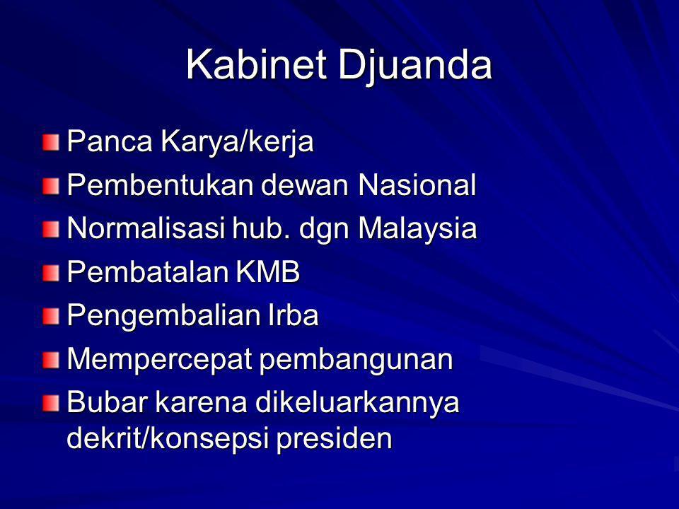 Kabinet Djuanda Panca Karya/kerja Pembentukan dewan Nasional Normalisasi hub.