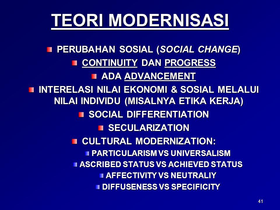 TEORI MODERNISASI PERUBAHAN SOSIAL (SOCIAL CHANGE) CONTINUITY DAN PROGRESS ADA ADVANCEMENT INTERELASI NILAI EKONOMI & SOSIAL MELALUI NILAI INDIVIDU (MISALNYA ETIKA KERJA) SOCIAL DIFFERENTIATION SECULARIZATION CULTURAL MODERNIZATION: PARTICULARISM VS UNIVERSALISM ASCRIBED STATUS VS ACHIEVED STATUS AFFECTIVITY VS NEUTRALIY DIFFUSENESS VS SPECIFICITY 41