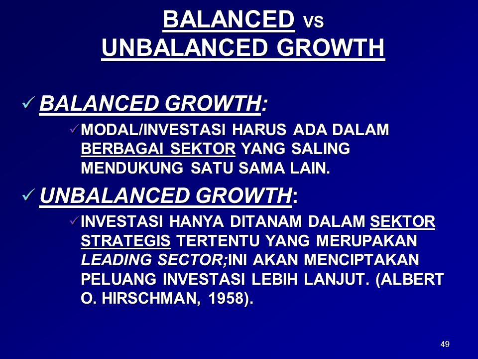 49 BALANCED VS UNBALANCED GROWTH BALANCED GROWTH: BALANCED GROWTH: MODAL/INVESTASI HARUS ADA DALAM BERBAGAI SEKTOR YANG SALING MENDUKUNG SATU SAMA LAIN.