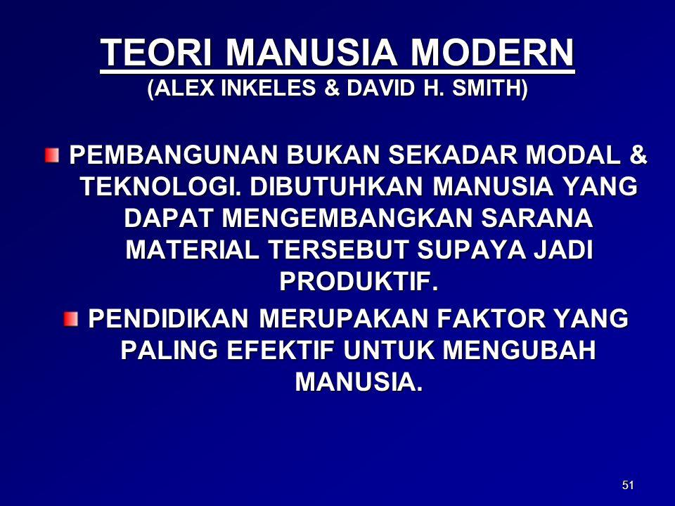 51 TEORI MANUSIA MODERN (ALEX INKELES & DAVID H. SMITH) PEMBANGUNAN BUKAN SEKADAR MODAL & TEKNOLOGI. DIBUTUHKAN MANUSIA YANG DAPAT MENGEMBANGKAN SARAN