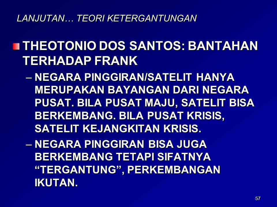 57 LANJUTAN… TEORI KETERGANTUNGAN THEOTONIO DOS SANTOS: BANTAHAN TERHADAP FRANK –NEGARA PINGGIRAN/SATELIT HANYA MERUPAKAN BAYANGAN DARI NEGARA PUSAT.