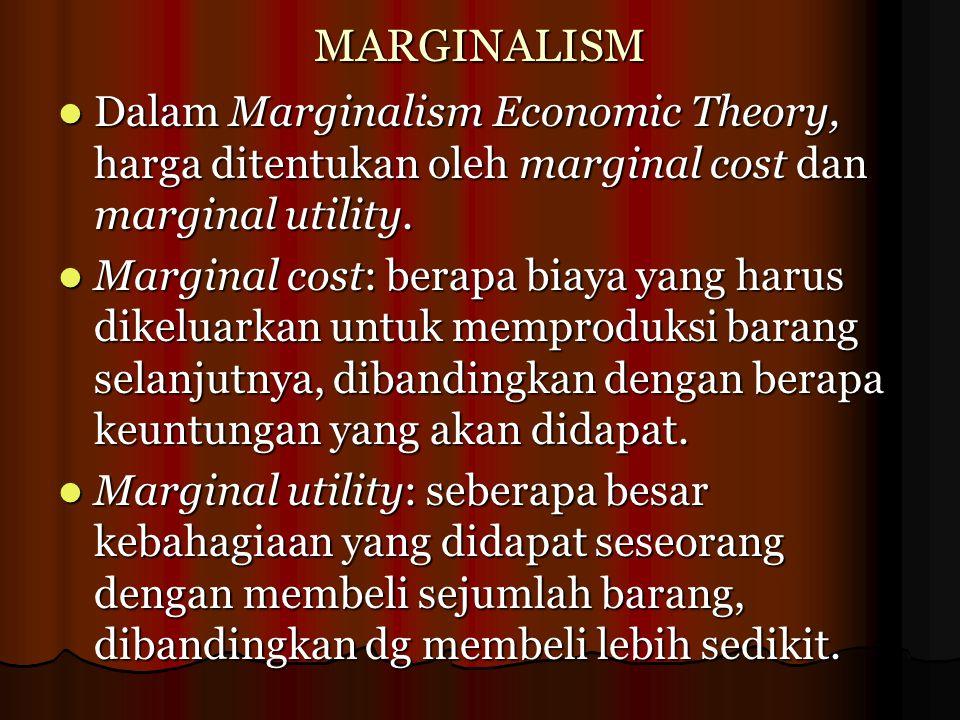 MARGINALISM Dalam Marginalism Economic Theory, harga ditentukan oleh marginal cost dan marginal utility. Dalam Marginalism Economic Theory, harga dite