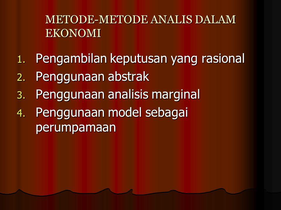 METODE-METODE ANALIS DALAM EKONOMI 1. Pengambilan keputusan yang rasional 2. Penggunaan abstrak 3. Penggunaan analisis marginal 4. Penggunaan model se