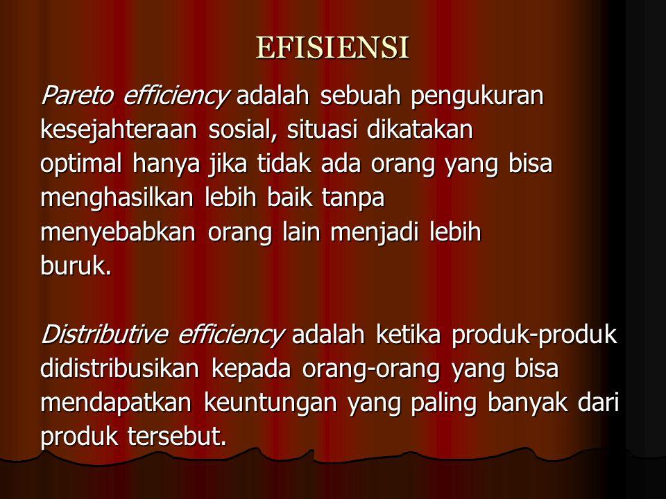 EFISIENSI Pareto efficiency adalah sebuah pengukuran kesejahteraan sosial, situasi dikatakan optimal hanya jika tidak ada orang yang bisa menghasilkan