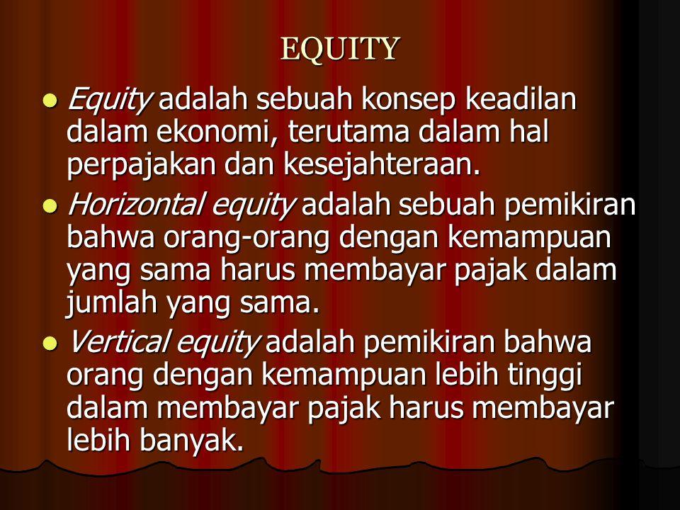 EQUITY Equity adalah sebuah konsep keadilan dalam ekonomi, terutama dalam hal perpajakan dan kesejahteraan. Equity adalah sebuah konsep keadilan dalam