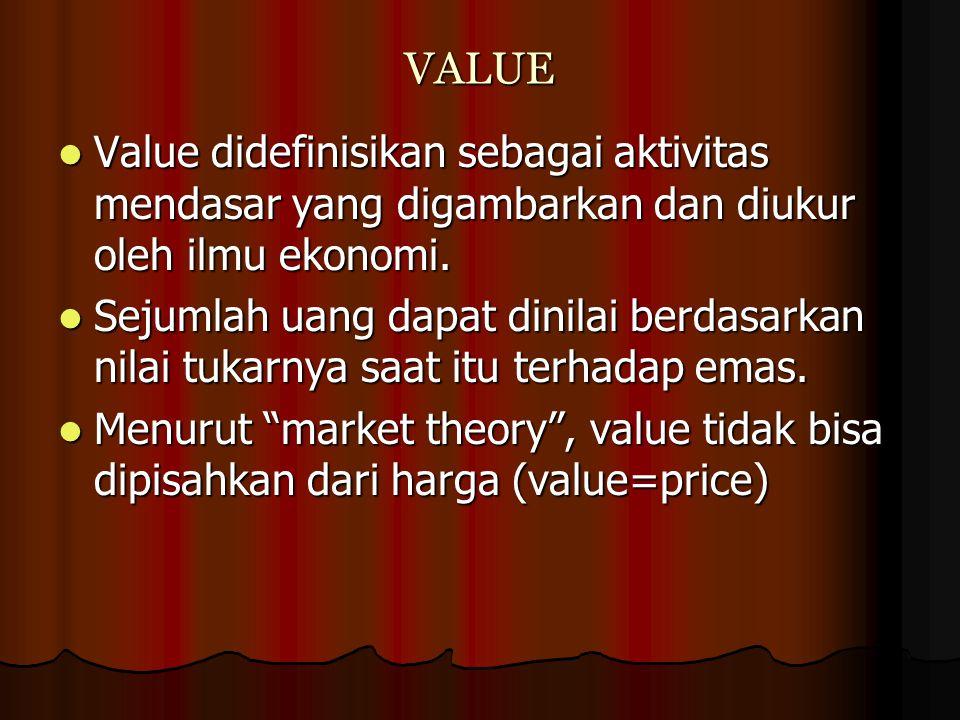 VALUE Value didefinisikan sebagai aktivitas mendasar yang digambarkan dan diukur oleh ilmu ekonomi. Value didefinisikan sebagai aktivitas mendasar yan