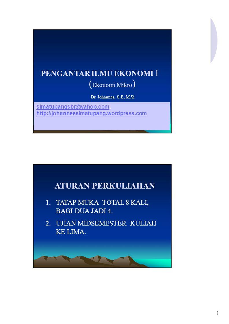 PENGANTAR ILMU EKONOMI I ( Ekonomi Mikro ) Dr.
