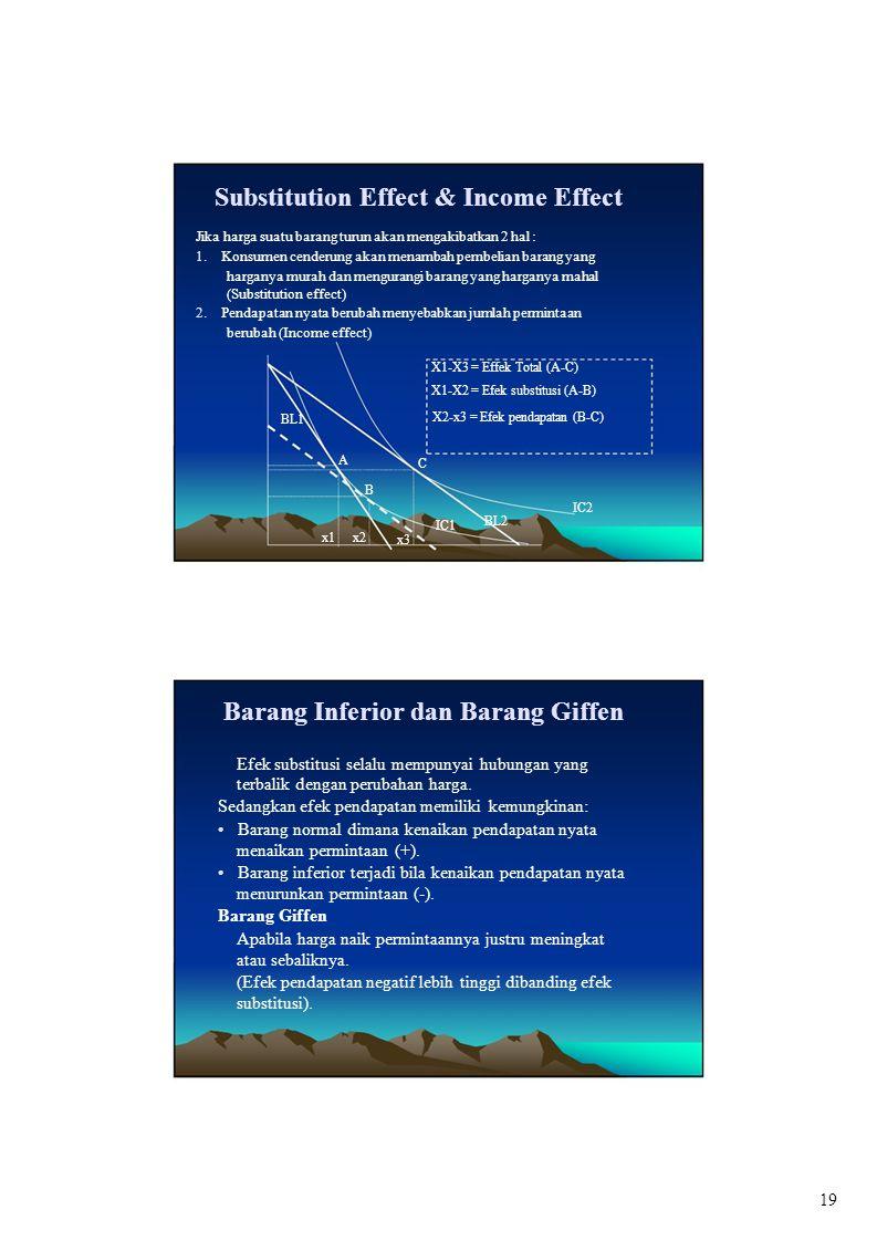 Substitution Effect & Income Effect Jika harga suatu barang turun akan mengakibatkan 2 hal : 1. Konsumen cenderung akan menambah pembelian barang yang