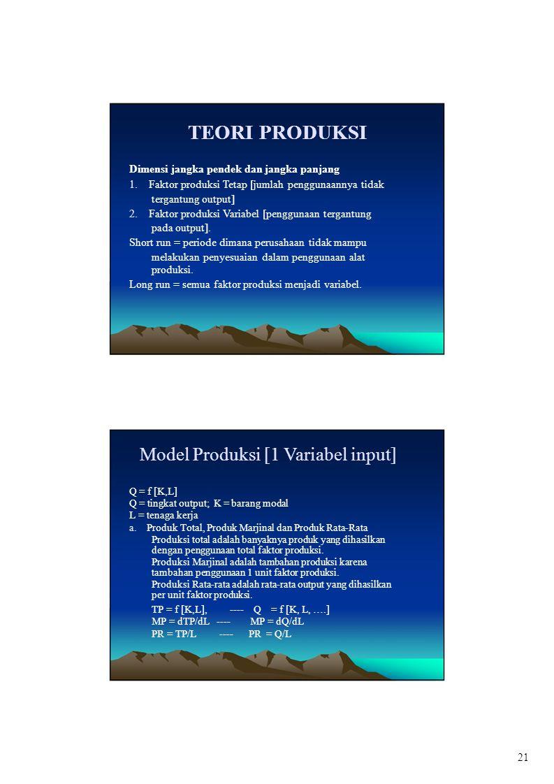 TEORI PRODUKSI Dimensi jangka pendek dan jangka panjang 1. Faktor produksi Tetap [jumlah penggunaannya tidak tergantung output] 2. Faktor produksi Var