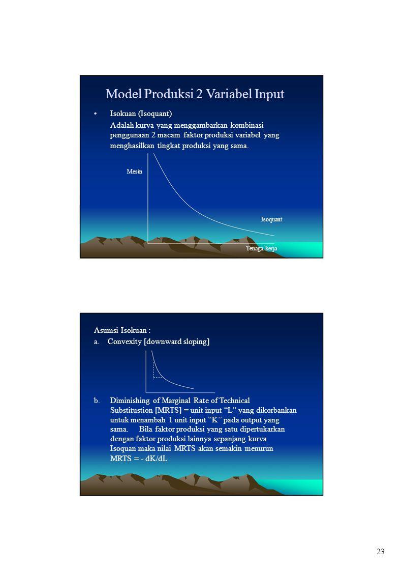 b. Model Produksi 2 Variabel Input Isokuan (Isoquant) Adalah kurva yang menggambarkan kombinasi penggunaan 2 macam faktor produksi variabel yang mengh