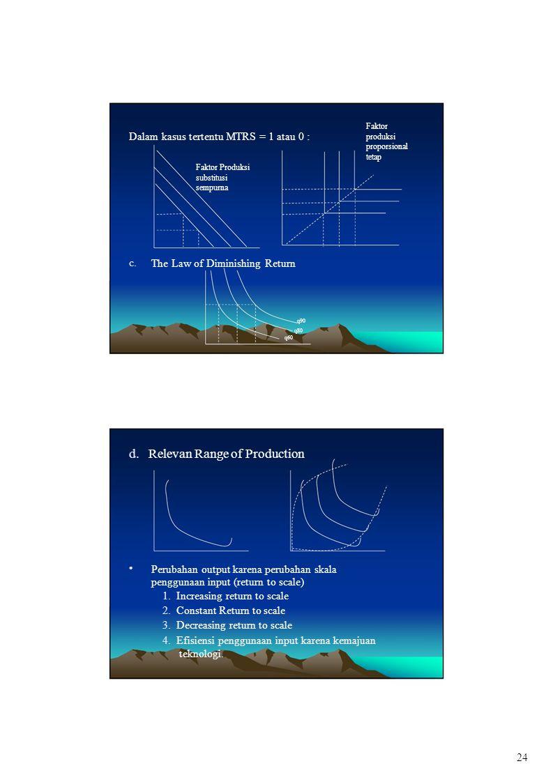 c. Dalam kasus tertentu MTRS = 1 atau 0 : Faktor produksi proporsional tetap Faktor Produksi substitusi sempurna The Law of Diminishing Return q90 q80