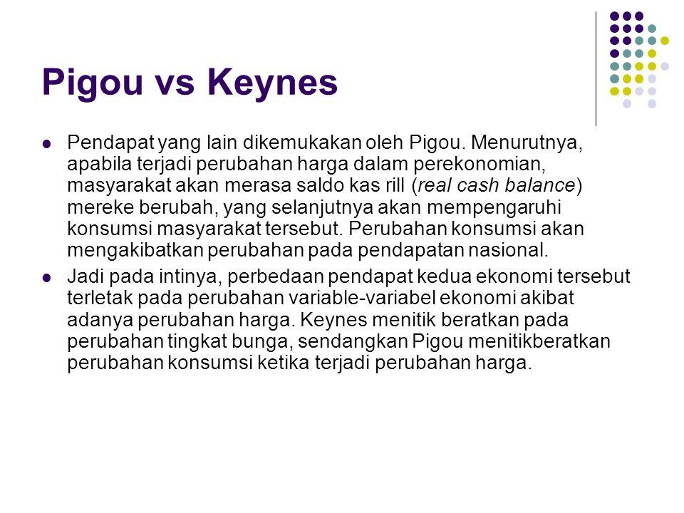 Pigou vs Keynes Pendapat yang lain dikemukakan oleh Pigou. Menurutnya, apabila terjadi perubahan harga dalam perekonomian, masyarakat akan merasa sald