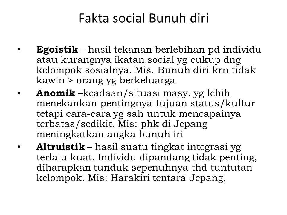 Fakta social Bunuh diri Egoistik – hasil tekanan berlebihan pd individu atau kurangnya ikatan social yg cukup dng kelompok sosialnya. Mis. Bunuh diri