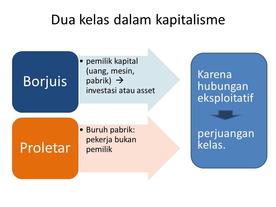 pemilik kapital (uang, mesin, pabrik)  investasi atau asset Borjuis Buruh pabrik: pekerja bukan pemilik Proletar Karena hubungan eksploitatif perjuan