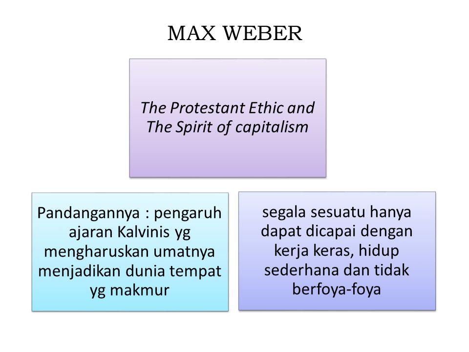 MAX WEBER The Protestant Ethic and The Spirit of capitalism segala sesuatu hanya dapat dicapai dengan kerja keras, hidup sederhana dan tidak berfoya-f