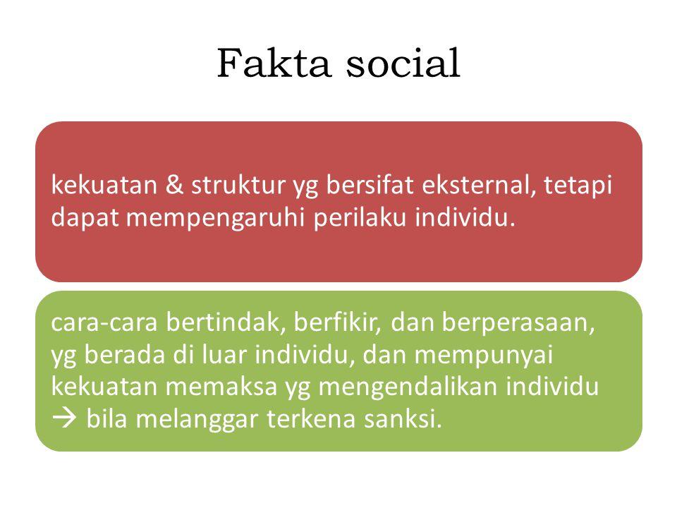 Fakta social kekuatan & struktur yg bersifat eksternal, tetapi dapat mempengaruhi perilaku individu. cara-cara bertindak, berfikir, dan berperasaan, y