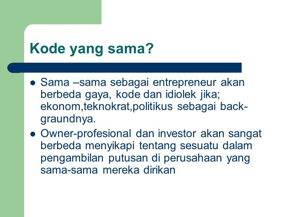 Kode yang sama? Sama –sama sebagai entrepreneur akan berbeda gaya, kode dan idiolek jika; ekonom,teknokrat,politikus sebagai back- graundnya. Owner-pr