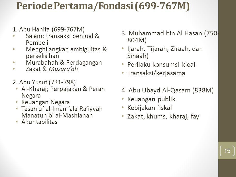 Periode Pertama/Fondasi (699-767M) 1. Abu Hanifa (699-767M) Salam; transaksi penjual & Pembeli Menghilangkan ambiguitas & perselisihan Murabahah & Per