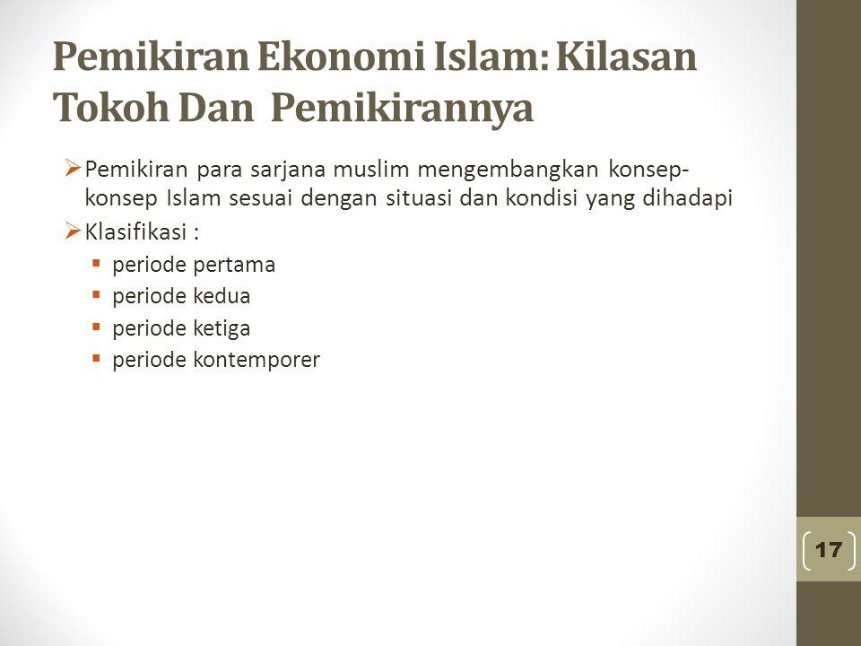 Pemikiran Ekonomi Islam: Kilasan Tokoh Dan Pemikirannya  Pemikiran para sarjana muslim mengembangkan konsep- konsep Islam sesuai dengan situasi dan k